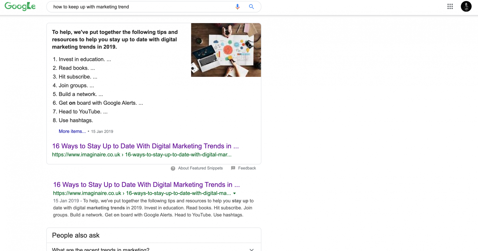 SERP Showing a Featured Snippet