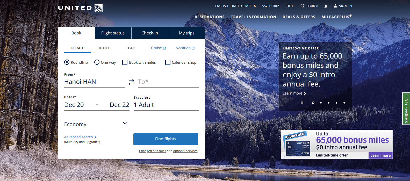 United Airlines Web Page Examples